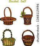 wicker baskets set on white... | Shutterstock .eps vector #1368115496