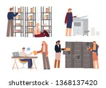 people in the office are...   Shutterstock .eps vector #1368137420