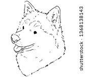 cute smiling husky outlines    Shutterstock .eps vector #1368138143
