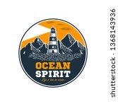ocean spirit. circle emblem in... | Shutterstock .eps vector #1368143936
