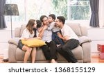 big happy family sitting on... | Shutterstock . vector #1368155129