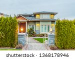 luxury house at night in... | Shutterstock . vector #1368178946