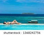 one caucasian woman enjoying...   Shutterstock . vector #1368242756