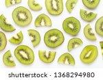Kiwi Fruit Slices Macro. Ripe...