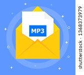 file mp3 sent by message. shown ... | Shutterstock .eps vector #1368373979
