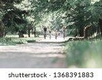 friendly families on a bike... | Shutterstock . vector #1368391883