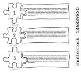 one two three  progress jigsaw... | Shutterstock .eps vector #136839830