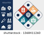 isolated icon set. 13 filled... | Shutterstock .eps vector #1368411260