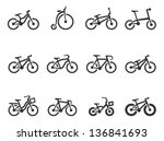 bicycle type icons in single... | Shutterstock .eps vector #136841693