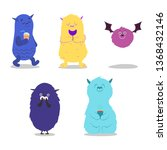 set of cute monsters. funny... | Shutterstock .eps vector #1368432146