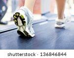 woman's muscular legs on... | Shutterstock . vector #136846844