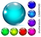 set of multicolored glass... | Shutterstock . vector #136849430