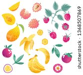 set with exotic fruits  whole...   Shutterstock .eps vector #1368507869