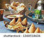 halal chicken samosas served... | Shutterstock . vector #1368518636