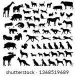 Stock vector black icon set dogs animal icons in set collection for design toy animals bitmap symbol stock 1368519689