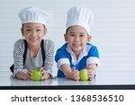cheerful  little boy and girl... | Shutterstock . vector #1368536510