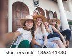 group of happy joyful young... | Shutterstock . vector #1368541430