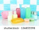 hotel cosmetics kit on shelf in ... | Shutterstock . vector #136855598