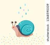 Cute Snail With Rain Drops