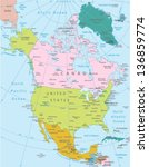 north america  highly detailed... | Shutterstock .eps vector #136859774