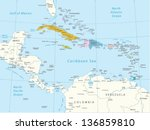 caribbean  highly detailed map...   Shutterstock .eps vector #136859810