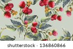 watercolor raspberry seamless... | Shutterstock . vector #136860866