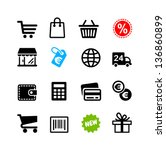 16 icons set. shopping  euro | Shutterstock .eps vector #136860899