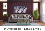 interior of the living room. 3d ... | Shutterstock . vector #1368617453