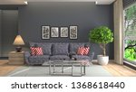 interior of the living room. 3d ... | Shutterstock . vector #1368618440