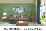 interior of the living room. 3d ... | Shutterstock . vector #1368619610