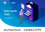data center concept with... | Shutterstock .eps vector #1368621590