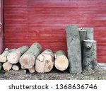 stack of firewood in front of... | Shutterstock . vector #1368636746