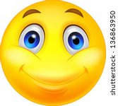 happy smiley emoticon face | Shutterstock .eps vector #136863950