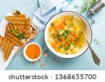 lentil soup with vegetables and ... | Shutterstock . vector #1368655700
