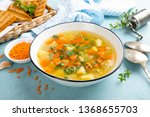 lentil soup with vegetables and ... | Shutterstock . vector #1368655703