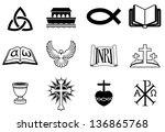 A set of icons pertaining to Christianity and Christian themes - stock vector