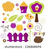 Cute Spring Garden Vector Set...