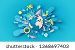 globe dropped on the blue sea... | Shutterstock .eps vector #1368697403