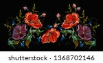embroidery violet flowers and... | Shutterstock .eps vector #1368702146