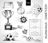 sketch of football elements | Shutterstock .eps vector #136871324