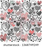 pattern with hearts | Shutterstock .eps vector #1368749249
