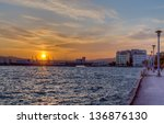 city of volos waterfront at... | Shutterstock . vector #136876130