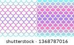 mermaid seamless pattern set....   Shutterstock .eps vector #1368787016