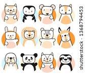 set of cute animals. design... | Shutterstock .eps vector #1368794453