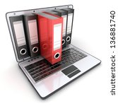 laptop 3d and files  done in 3d  | Shutterstock . vector #136881740