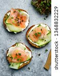 toasts with smoked salmon ... | Shutterstock . vector #1368832229