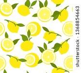 fruits pattern. seamless summer ... | Shutterstock .eps vector #1368854663