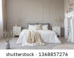 king size bed with white sheets ...   Shutterstock . vector #1368857276