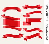 shiny red classic ribbons in 3d ... | Shutterstock .eps vector #1368857600