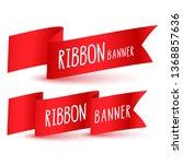 red ribbon flag banners set | Shutterstock .eps vector #1368857636